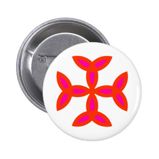 Triquetra Cross in Bright Red Hot Pink Pinback Button
