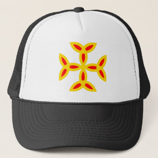 Triquetra Cross in Golden Yellow Orange Red Trucker Hat