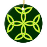 Triquetra Knotwork Cross in Golden Yellow Green Ceramic Ornament