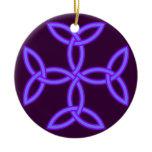 Triquetra Knotwork Cross in Lavender Purple Ceramic Ornament