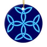 Triquetra Knotwork Cross in Light Medium Blue Ceramic Ornament