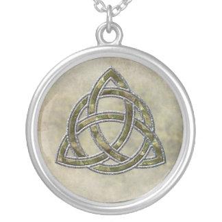 Triquetra Natural Round Pendant Necklace