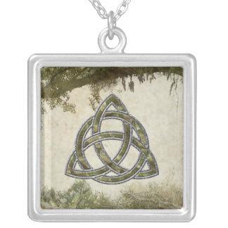 Triquetra Natural Square Pendant Necklace