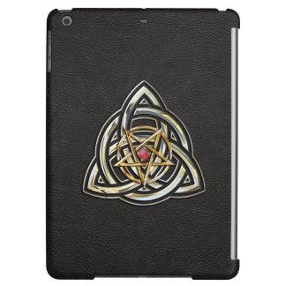 Triquetra Pentacle on Black iPad Air Cases
