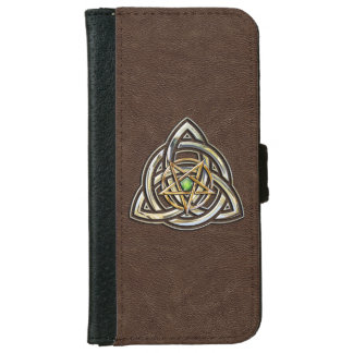 Triquetra Pentacle on Brown iPhone 6 Wallet Case