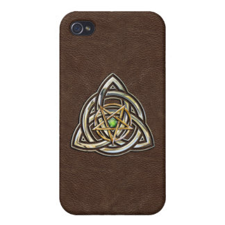 Triquetra Pentacle on Brown iPhone 4 Cover