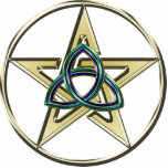 "Triquetra Pentagram Ornament<br><div class=""desc"">The Triquetra knot has many beliefs associated with it. The Christian Trinity,  the Wiccan Triple Goddess,  and Neo-Pagan land,  sea and sky are among the more modern ones. Triquetra Pentagram t shirts and gifts.</div>"