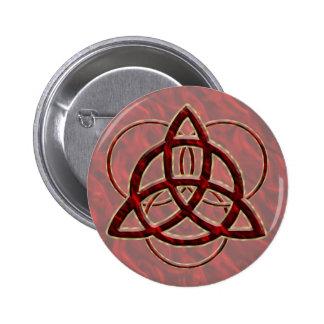 Triquetra Red Silk 2 Inch Round Button
