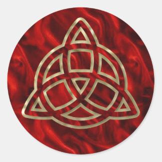 Triquetra Red Silk Classic Round Sticker