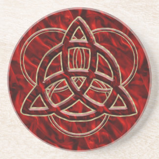Triquetra Red Silk Coasters