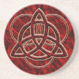 Triquetra Red Silk Drink Coaster
