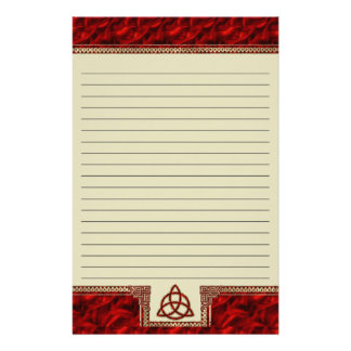 Triquetra Red Silk Lined Stationery