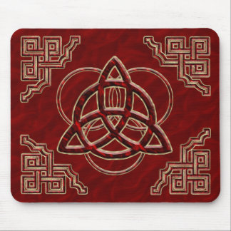 Triquetra Red Silk Mouse Pad