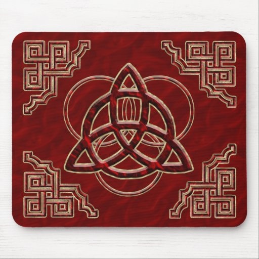 Triquetra Red Silk Mouse Pads