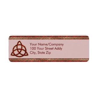 Triquetra Red Silk Return Address Label