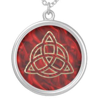 Triquetra Red Silk Round Pendant Necklace