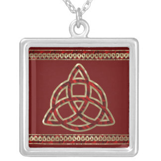Triquetra Red Silk Square Pendant Necklace