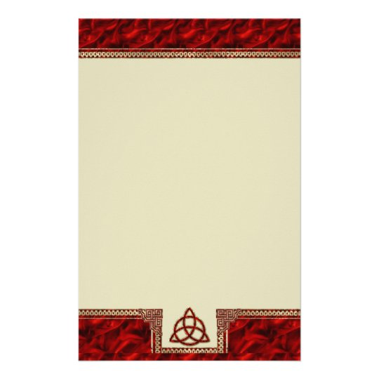 Triquetra Red Silk Stationery