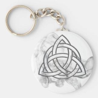 Triquetra Silver Bevel Basic Round Button Keychain