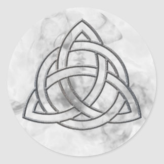 Triquetra Silver Bevel Classic Round Sticker