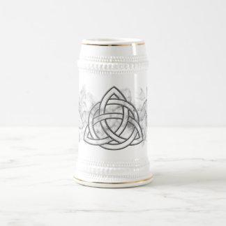 Triquetra Silver Bevel 18 Oz Beer Stein