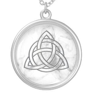 Triquetra Silver Bevel Round Pendant Necklace