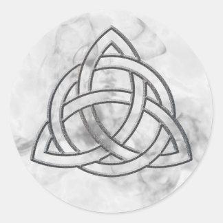 Triquetra Silver Bevel Round Sticker