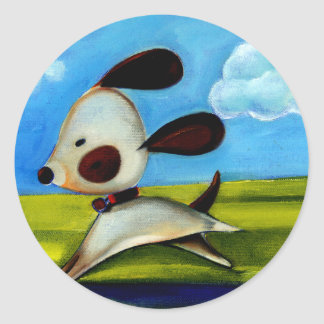 Trish Biddle Childrens Doggy 2 of 3 Classic Round Sticker