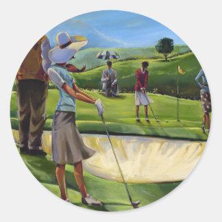Trish Biddle - golf de las señoras Pegatina Redonda