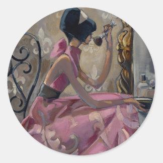 Trish Biddle Powder Pink Vanity Classic Round Sticker