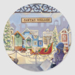 Trish Biddle Santa's Villiage Round Stickers