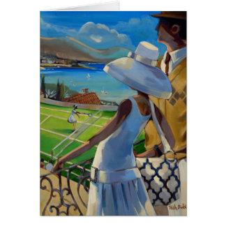 Trish Biddle - tenis en la Riviera Tarjeta De Felicitación
