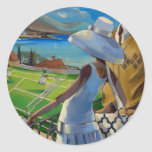 Trish Biddle - Tennis on the Riviera Classic Round Sticker