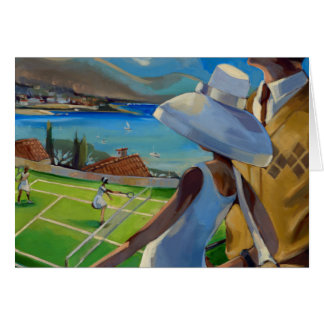 Trish Biddle - Tennis on the Riviera Greeting Card
