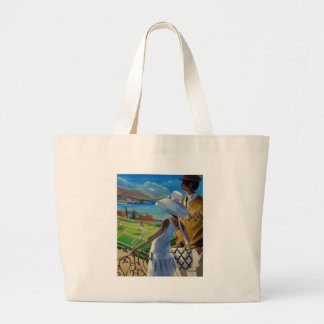 Trish Biddle - Tennis on the Riviera Large Tote Bag