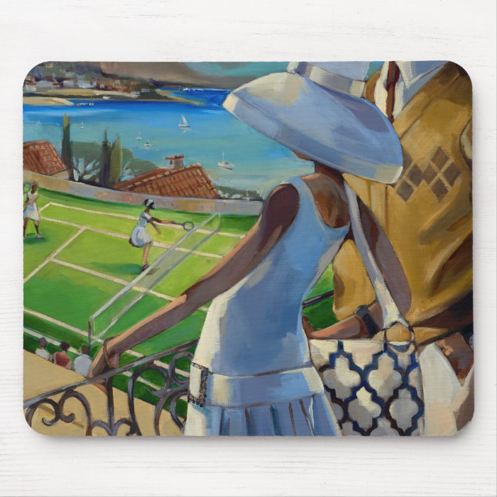 Trish Biddle - Tennis on the Riviera Mouse Pad