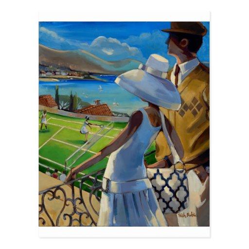Trish Biddle - Tennis on the Riviera Post Card