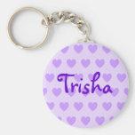 Trisha en púrpura llavero redondo tipo pin