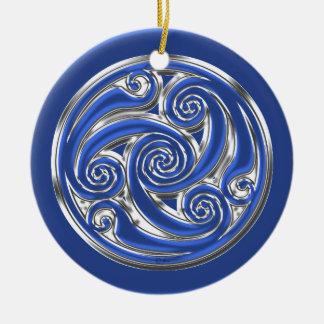 Triskel de plata azul ornaments para arbol de navidad