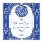 Triskel de plata azul invitación 13,3 cm x 13,3cm