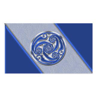 Triskel de plata azul tarjeta de visita