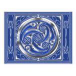 Triskel de plata azul tarjeta postal