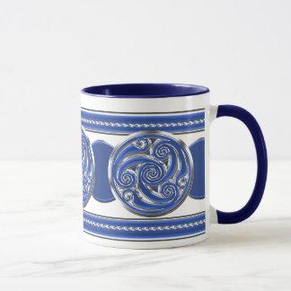 Triskel de plata azul taza