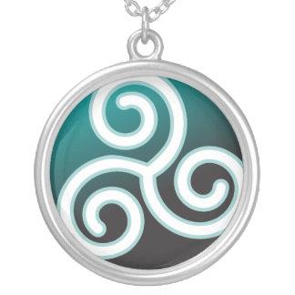 Triskele Celtic Spiral Round Pendant Necklace