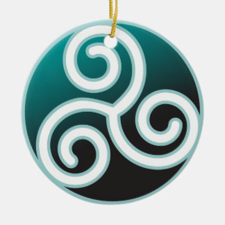 Triskele Celtic Spiral Double-Sided Ceramic Round Christmas Ornament