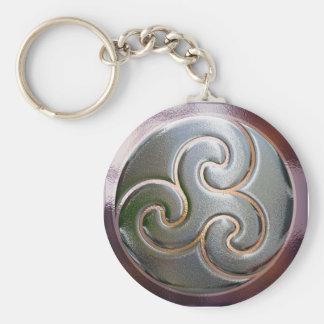 Triskele céltico en plata llavero redondo tipo pin