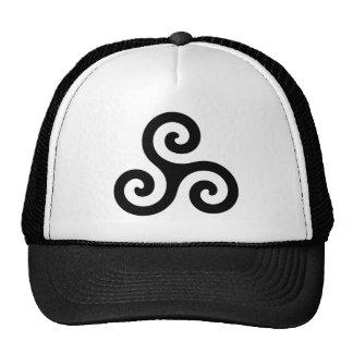 Triskele espiral negro gorros bordados