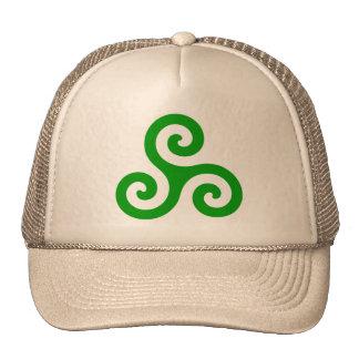 Triskele espiral verde gorras de camionero