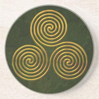 Triskele-gold Drink Coaster