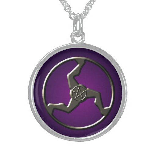 Triskelion afortunado con el pentáculo collares de plata esterlina